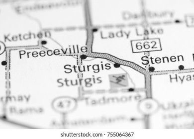 Sturgis. Canada on a map.
