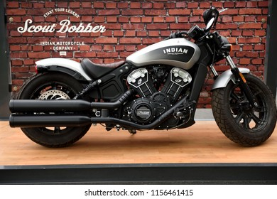 Sturgis, South Dakota / USA - August 5 2018: Indian Scout Bobber motorcycle on display at the annual Sturgis motorcycle rally.