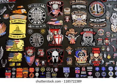 Sturgis, South Dakota / USA - August 5 2018: Colorful wall display of an assortment of various biker or motorcycle rider patches at the annual Sturgis motorcycle rally.