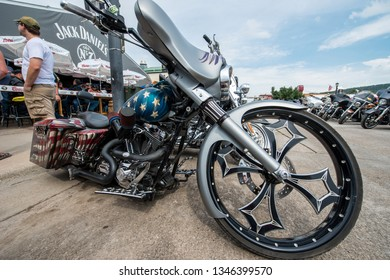 Sturgis, South Dakota USA - August 5, 2015 Parked motorcycle at annual rally in Sturgis