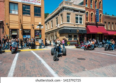 Sturgis, South Dakota, USA - August 5, 2015 Sturgis town during the annual rally for bikers