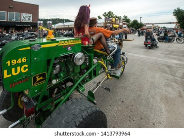Sturgis, South Dakota, USA - August 5, 2015 Typical bikers in Sturgis for the annual rally