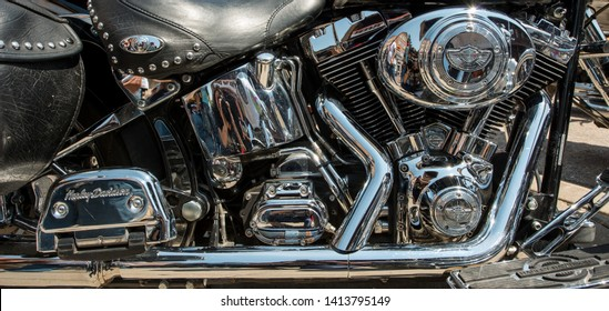 Sturgis, South Dakota, USA - August 5, 2015 Typical motorbike in Sturgis for the annual rally