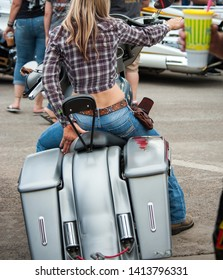Sturgis, South Dakota, USA - August 5, 2015 Women bikers in Sturgis for the annual rally