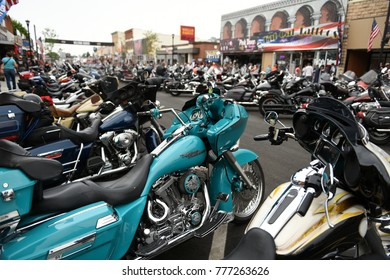 Sturgis, South Dakota / USA - August 05 2017: Hundreds of motorcycles parked on Main Street in Sturgis during the worlds largest motorcycle rally.
