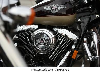 Sturgis, South Dakota / USA - August 05 2017: Harley Davidson motorcycle engine assembly and fuel tank.