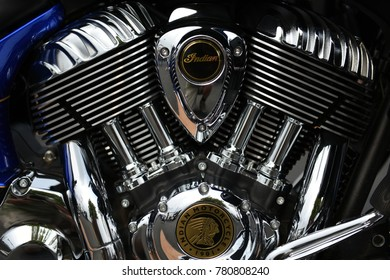 Sturgis, South Dakota / USA - August 05 2017: Indian motorcycle chrome engine assembly close up view.