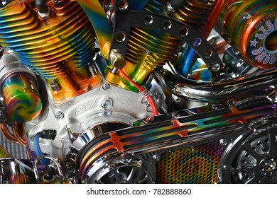 Sturgis, South Dakota / USA - August 05 2017: Colorful chopper motorcycle engine artwork.