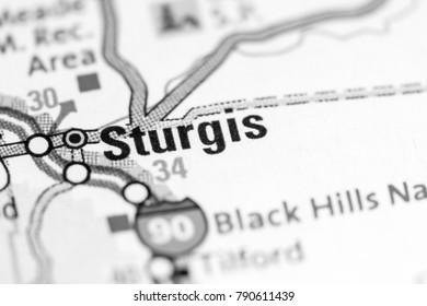 Sturgis. South Dakota. USA on a map.