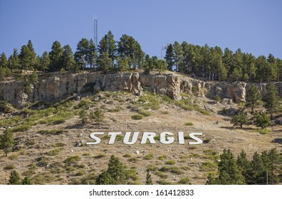 STURGIS, SOUTH DAKOTA/UNITED STATES -Â?Â? AUGUST 18: Popular for itÂ?Â?s yearly motorcycle rally, Sturgis is emblazed on the side of a hill on August 18, 2012.