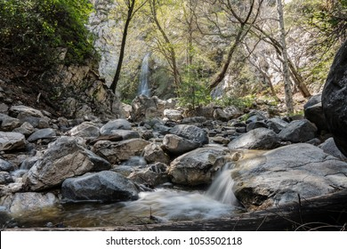 Sturtevant Falls and Santa Anita Canyon in the San Gabriel Mountains above Los Angeles and Pasadena California.