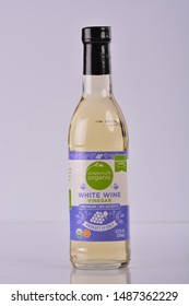Sturtevant, Wisconsin / USA - August 25, 2019:  Simple Truth Organic white wine vinegar with six percent acidity isolated on white.