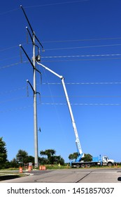 Sturtevant, Wisconsin / USA - July 15, 2019: Work installing power lines continues to supply power to the Mount Pleasant Foxconn project in Racine County.