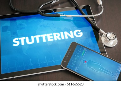 Stuttering (neurological disorder) diagnosis medical concept on tablet screen with stethoscope.