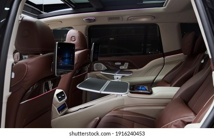 Stuttgart, 14. February 2021: Mercedes Maybach GLS 600 - Luxurious, Comfortable And Modern Car Interior. Ideal Concept For Power, Performance, Automobile And Technology.