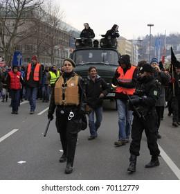 STUTTGART 21 - JAN 29: Demonstration K21 against the construction of the railway station in Stuttgart - Germany. January 29, 2011 in Stuttgart, Germany