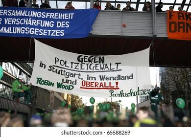 STUTTGART 21 - NOVEMBER 20 : Demonstration K21 against the construction of the railway station in Stuttgart - Germany. November 20, 2010 in Stuttgart, Germany