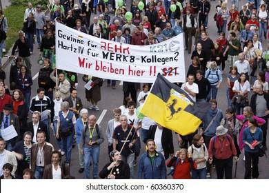 STUTTGART 21  - SEPTEMBER 03 : Demonstration against the construction of the railway station in Stuttgart - Germany. September 03, 2010 in Stuttgart, Germany