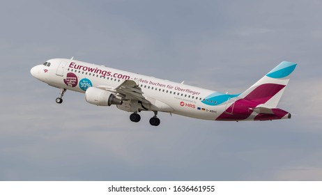 STUTTGART AIRPORT, STUTTGART, GERMANY - September 16, 2019: Special Livery Eurowings Airbus A320-214 (D-ABHC) taking off on September 16, 2019 at Stuttgart Airport, Stuttgart, Germany.