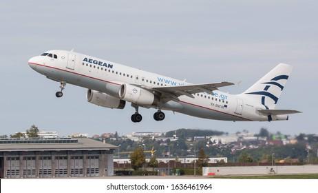 STUTTGART AIRPORT, STUTTGART, GERMANY - September 16, 2019: Aegean Airlines Airbus A320-232 (SX-DGC) taking off on September 16, 2019 at Stuttgart Airport, Stuttgart, Germany.