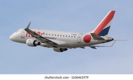 STUTTGART AIRPORT, STUTTGART, GERMANY - September 16, 2019: Air France HOP Embraer ERJ-170STD (F-HBXB) taking off on September 16, 2019 at Stuttgart Airport, Stuttgart, Germany.