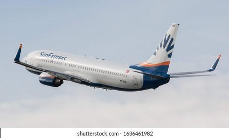STUTTGART AIRPORT, STUTTGART, GERMANY - September 16, 2019: SunExpress Boeing 737-86Q (TC-SUU) taking off on September 16, 2019 at Stuttgart Airport, Stuttgart, Germany.
