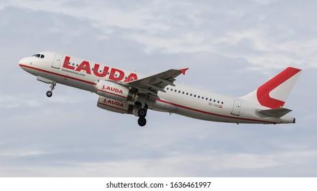 STUTTGART AIRPORT, STUTTGART, GERMANY - September 16, 2019: Lauda Airbus A320-232 (OE-IHD) taking off on September 16, 2019 at Stuttgart Airport, Stuttgart, Germany.