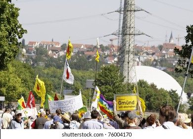 STUTTGART - APRIL 25 : Demonstration against nuclear power in Neckarwestheim, Germany. April 25, 2011 in Stuttgart, Germany