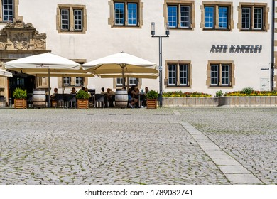 Stuttgart, BW / Germany - 21 July 2020: the Alte Kanzlei restaurant on the market square in downtown Stuttgart