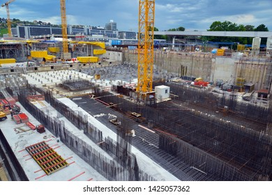 STUTTGART CIRCA JUNE 2019. Construction site of Stuttgart 21, a controversial large scale urban development, infrastructure and transportation project in the city center