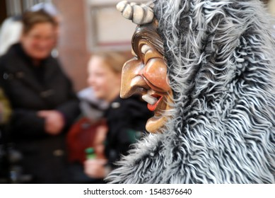 Stuttgart, germany, 03/08/2011 Swabian-Alemannic Fastnacht with wooden masks during a carnival parade
