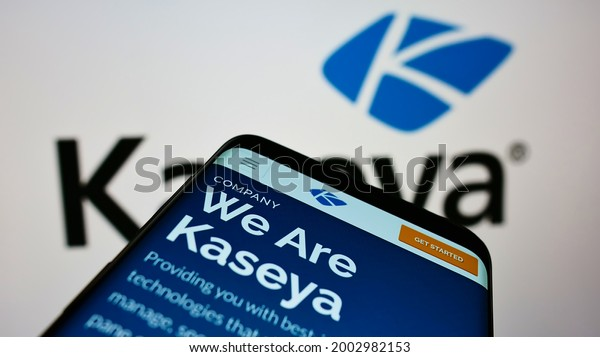 Stuttgart, Germany - 07-04-2021: Cellphone with webpage of American IT security management company Kaseya Limited on screen in front of logo. Focus on top-left of phone display. Unmodified photo.