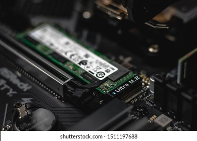 Stuttgart, Germany - 16. September 2019: Ultra M.2 NVMe SSD Flash Drive mounted on a Mainboard/Motherboard