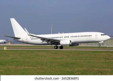 Stuttgart, Germany – 8. April 2017:  Air Explore Boeing 737at Stuttgart airport (STR) in Germany. Boeing is an aircraft manufacturer based in Seattle, Washington.