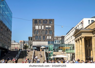 STUTTGART, GERMANY - Apr 20, 2019:   shopping street in Stuttgart with unidentified people. Stuttgart is the capital and largest city of the German state of Baden-Wuerttemberg