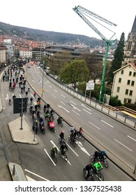Stuttgart, Germany - April 05, 2019: Cyclists participating at the Critical Mass event in Stuttgart, Germany - an event held once a month around the world where bicyclists and other self-propelled