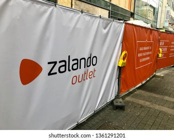 Stuttgart, Germany - April 06, 2019: Zalando advertising in front of a future outlet in Stuttgart: Zalando is the largest German Online Retailer selling shoes, clothes and other fashion items. The