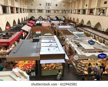 Stuttgart, Germany - April 1, 2017: Interior vIew of Market Hall in Stuttgart, Germany celebrating its 100th birhtday in 2017.