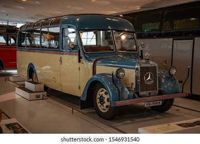 Stuttgart, Germany - April 13, 2019: 1940 Mercedes-Benz O 2600 Allweter-Reiseomnibus touring coach with soft top roof 1940s classic retro bus