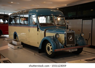 Stuttgart, Germany - April 13, 2019: 1940 Mercedes-Benz O2600 Allweter-Reiseomnibus touring coach with soft top roof 1940s classic retro bus
