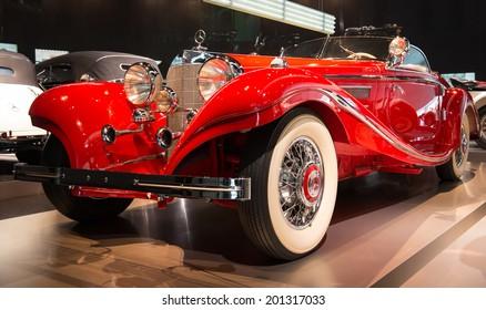 STUTTGART, GERMANY - APRIL 19, 2014: Vintage 1936 Mercedes-Benz Special-Roadster on display at the Mercedes-Benz Museum.