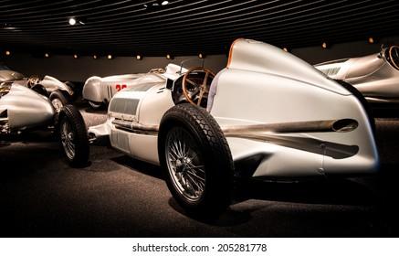 STUTTGART, GERMANY - APRIL 19, 2014: Vintage 1934 Mercedes-Benz W25 Silver Arrow Grand Prix car on display at the Mercedes-Benz Museum.
