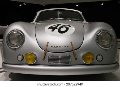 STUTTGART, GERMANY - APRIL 19, 2014: Vintage 1950 Porsche 356 SL Coupe on display at the Porsche Museum.