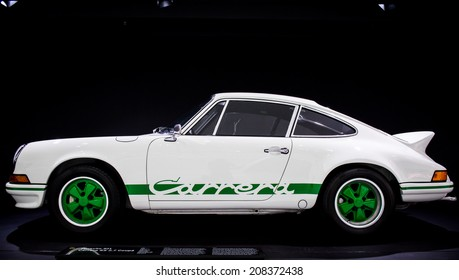 STUTTGART, GERMANY - APRIL 19, 2014: Classic 1973 Porsche 911 Carrera RS 2.7 Coupe on display at the Porsche Museum.
