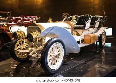 STUTTGART, GERMANY - APRIL 19, 2014: Vintage 1908 Mercedes Double-Phaeton on display at the Mercedes-Benz Museum.