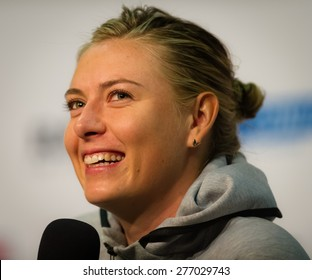 STUTTGART, GERMANY - APRIL 23 : Maria Sharapova talks to the media at the 2015 Porsche Tennis Grand Prix WTA Premier tennis tournament