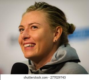 STUTTGART, GERMANY - APRIL 23 : Maria Sharapova talks to the media at the 2015 Porsche Tennis Grand Prix WTA Premier tennis tournament