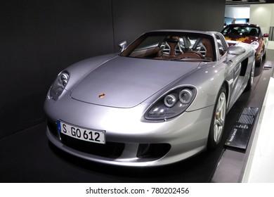 STUTTGART, GERMANY - APRIL 24, 2014: Silver Porsche Carrera GT. Permanent exhibition in Porsche museum.