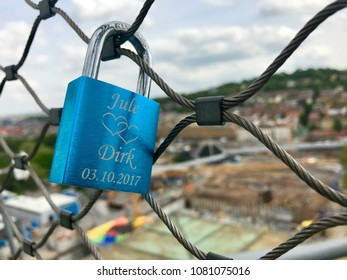 Stuttgart, Germany - April 24, 2018: Love lock on the construction site at Stuttgart main station for the Stuttgart21 railway project where the main station is moved under ground.