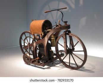 STUTTGART, GERMANY - APRIL 25, 2014: Daimler Reitwagen (Riding car), world's first motorcycle (year 1885). Permanent exhibition in Mercedes-Benz museum.